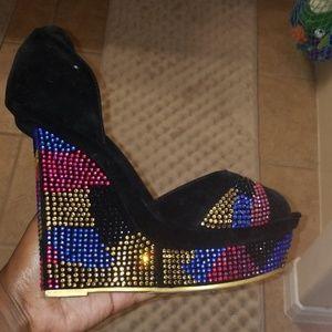 Rhinestone peep toe wedge heels